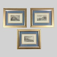 Three Vintage Lithographs of Venice by Edizioni Ponte Vecchio after Antonio Visentini Engravings