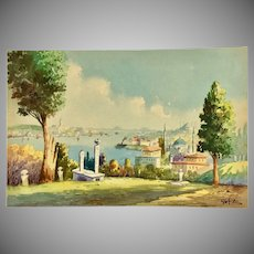 1930s Watercolor Painting of Istanbul by Vahit Armağan- Original Signed