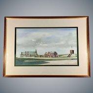 Rare Original Watercolor of Rossall School by British Artist & Author Tom Briggs