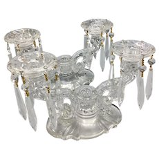 Pair of Heisey Crystal and Glass 3-Light Candelabras Candleholders with Prisms
