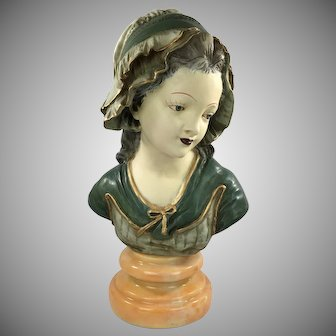 Victorian Bust of a Girl in Bonnet French Maid Color Glaze on Marble Base