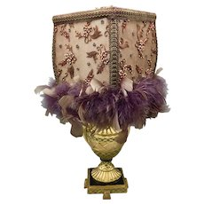 Boudoir Lamp with Purple Feathers Beaded Embroidery and Golden Base