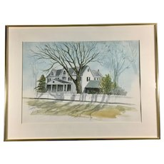 Lewis Pusey Original Signed Watercolor circa 1987 Framed