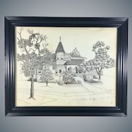 Helene Cundey Black Ink Drawing of a House