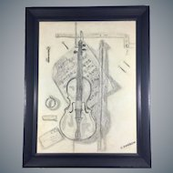 Black Charcoal on Canvas Drawing of a Violin signed S. Zweben