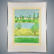 Summer Landscape Watercolor in Green Tones Signed and Framed
