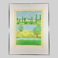 Summer Landscape Watercolor Painting in Green Tones Signed and Framed