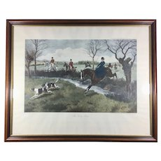 Vintage Large Lithograph 'My Lady Leads' Hunting Equestrian after Rowlandson Painting Framed