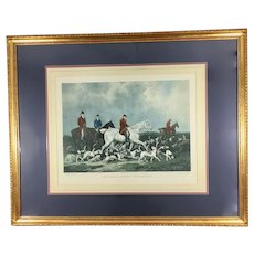 Antique 1823 Hand Colored Engraving of Hunting Scene by Richard Woodman in Large Frame