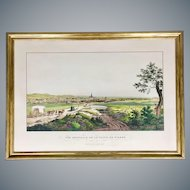 Antique Hand Colored Leopold Beyer Engraving of Vienna circa 1820