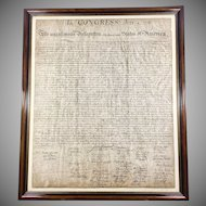 1942 Declaration of Independence Othman Lithograph Numbered and Framed