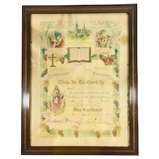 Antique Lutheran Confirmation Baptism Certificate 1918 Ohio