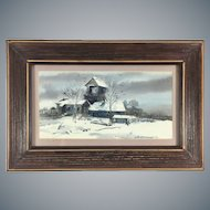 Original Watercolor Painting by C. Booth Farcus (1914-1997) Winter Landscape