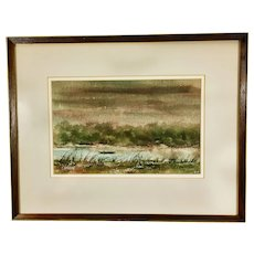 Original Rudolph Ohrning (1930-2011) Watercolor Painting Boat on Water