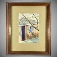 Original Watercolor Painting by D. A. Robins Winter House