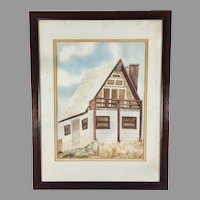 Original Watercolor Painting of a House Signed Framed