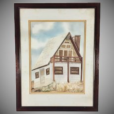 Watercolor Painting of a House Signed Framed