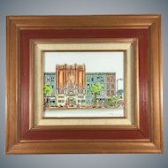 Max Irving Cartoon Painting of New York Street Acrylic on Board Framed