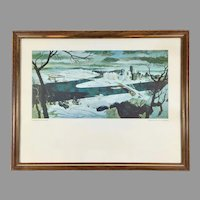 Nat Youngblood Limited Edition Aquatint Lithograph Pittsburgh in Winter