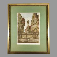 Hand Colored Etching of Rothenburg by Ernst Geissendorfer (1908-1993)