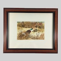Miniature Gouache Painting of Pheasants Birds Signed Framed