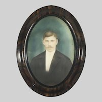 Antique Large Russian Photograph Portrait of a Man in Oval Frame Hand Colored