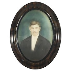 Large Antique Russian Photograph of a Man in Oval Wooden Frame Hand Colored