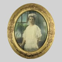 Large Antique Hand Colored Photograph Portrait of a Girl 19th Century Oval Gesso Frame