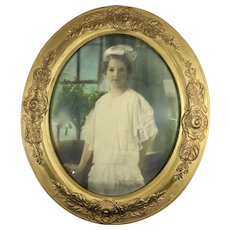 Large Antique Hand Colored Photograph of Girl in 19th Century Oval Gesso Frame