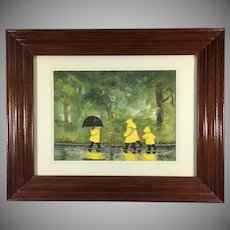 Mid-Century Watercolor Painting by M.Wells Autumn Scene Children in the Rain