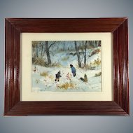 Mid-Century Watercolor Painting by M.Wells Winter Scene Children in the Snow