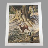 Ray Harm Hand Signed Limited Edition Print 'White-Tailed Fawn and Young Skunks' 538/975
