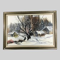 Oil on Canvas Large Winter Scene by Fred Trimble Signed Circa 1987