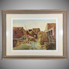 Paul Calle Signed Lithograph 'Wood Gatherer of Walpi' Native American Framed