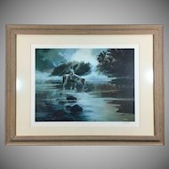 Ralph Wall Signed Lithograph 'Mist of Morning' Native American Framed