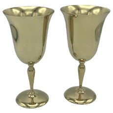Pair of Vintage Golden Dirilyte Dirigold Metal Wine Goblets Cups