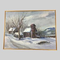 Antique Oil Painting of a Winter Scene by Laudat