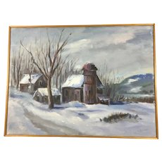 Original Oil Painting of a Winter Scene by Laudat