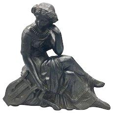 Circa 1920s Cast Metal Art Nouveau Sculpture Figurine of Woman with a Harp