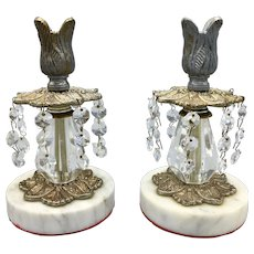 Pair of Vintage Candleholders Candlesticks Cast Metal and Crystal on Marble Base