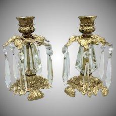 L&L Loevsky & Loevsky WMC Golden Candleholders Cast Metal & Crystal circa 1973