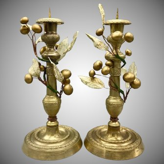 Pair of Antique Brass Candleholders with Wrapped Golden Vine & Berries