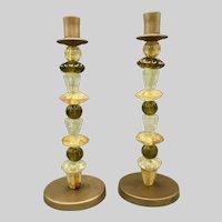 Pair of Vintage Candleholders Candlesticks Italian Hand Blown Glass