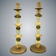 Mid Century Candleholders with Different Types of Hand Blown Glass
