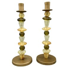 Pair of Vintage Candleholders Candlesticks Italian Hand Blown Glass