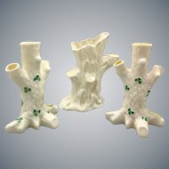 Set of 3 Vintage Belleek Tree Shape Porcelain Vases with Green Shamrock