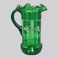 Mid Century Hand Blown Hand Painted Green Glass Pitcher