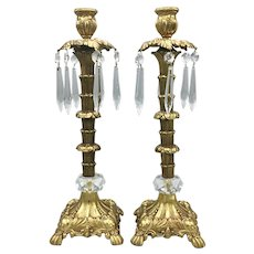 Pair of Vintage Cast Iron Candleholders Golden Gilt and Crystal