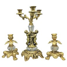 Antique 3-candle Candelabra and Two Candleholders Iron Cast Set Gold Gilt Crystal