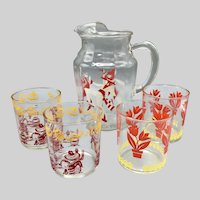 Mid Century Glass Pitcher Decanter with 4 Glasses Spanish Style